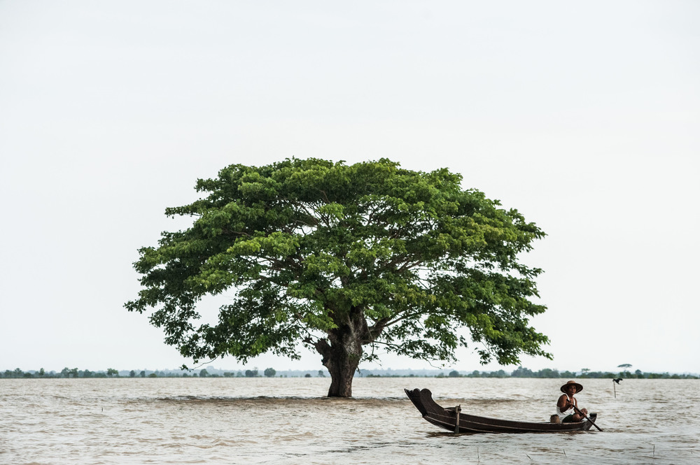 A man rows his boat in the Irrawaddy delta where some areas are still under nine feet of water