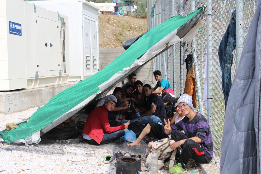 Shelters in Moria camp, Lesvos, Greece (Daniel Elkan/IRIN)