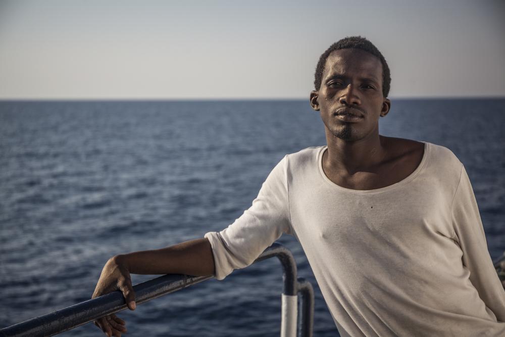 Mohammed Lamin aboard rescue ship The Phoenix (Jason Florio/MOAS.eu/IRIN)