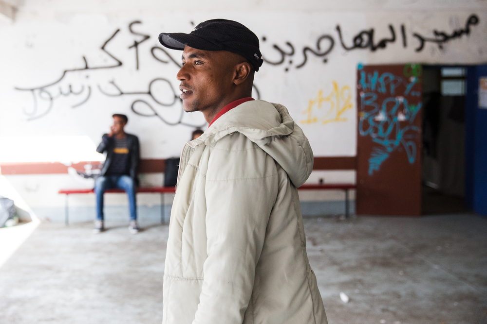 Mossab, 23, is from Post Sudan, where he worked as a housepainter. He paid a smuggler $1,000 to leave his country. After four months in the Libyan desert he caught a makeshift boat to Italy. Forty of his fellow passengers drowned.