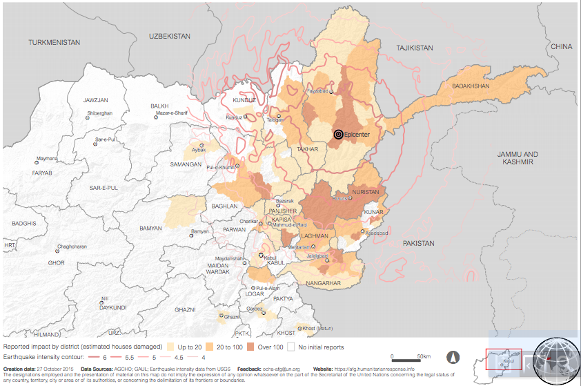 Afghanistan: Quake impact and damage to houses per district (Map: OCHA)