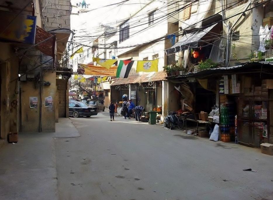 أعلام الفصائل الفلسطينية المختلفة معلقة في مختلف أرجاء المخيم