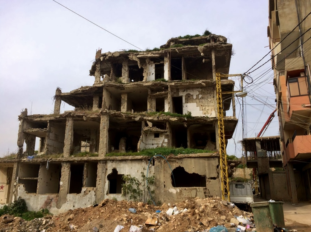 A pancaked building left over from the 2007 war in Nahr al-Bared