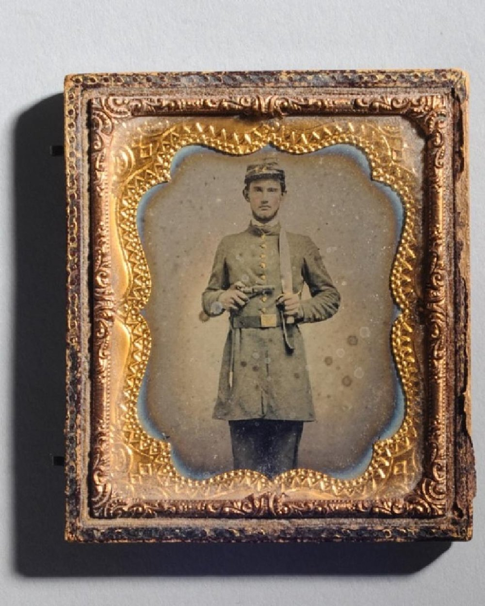 Daguerreotype of a Civil War Soldier - Sold for $2,5964/15/2017