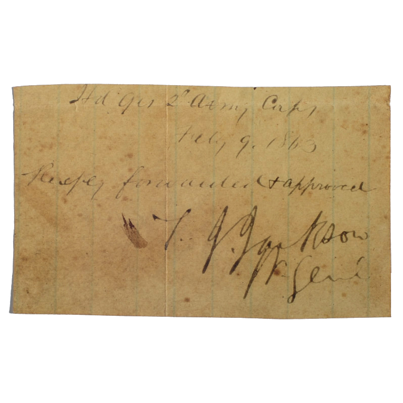 Stonewall Jackson Signature - Sold for $2,0065/13/2017