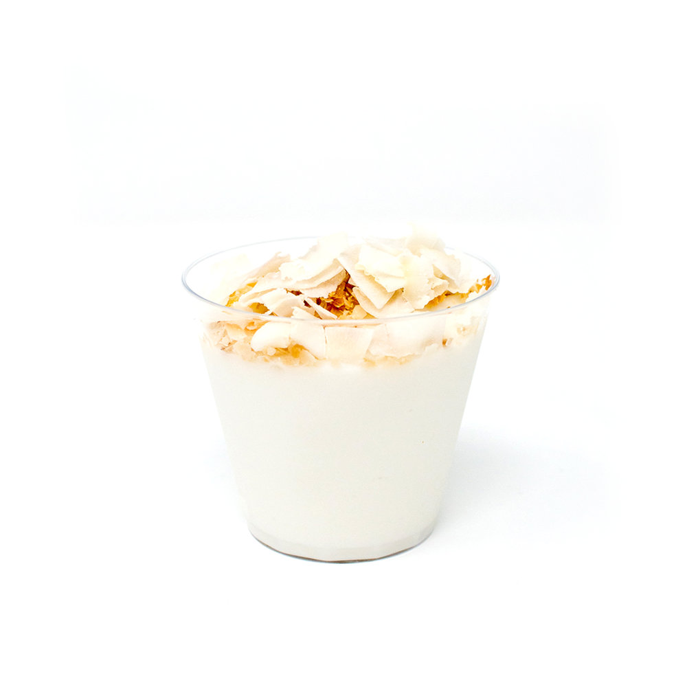 Haupia Cups (GF, V)   $24   Silky Hawaiian coconut pudding topped with macadamia nut and flaked raw coconut