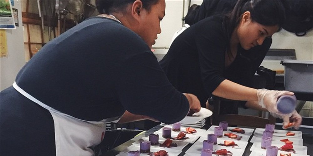 Amlag and co. plating for one of their pop-ups. Amlag was inspired to turn baking into a career after her ube cheesecake brought her local fame.