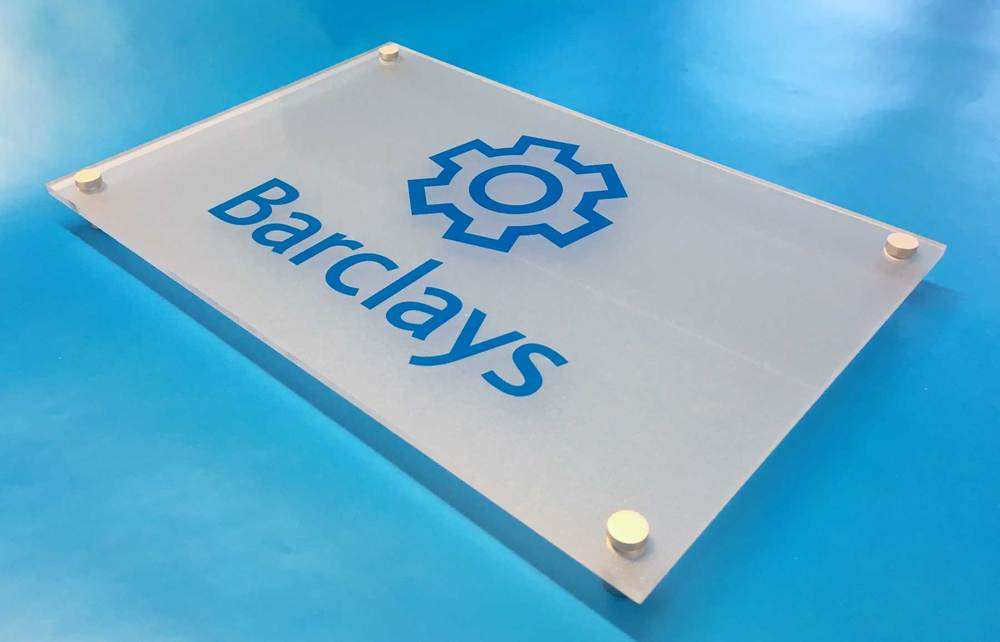 Barclays acrylic sign frosted