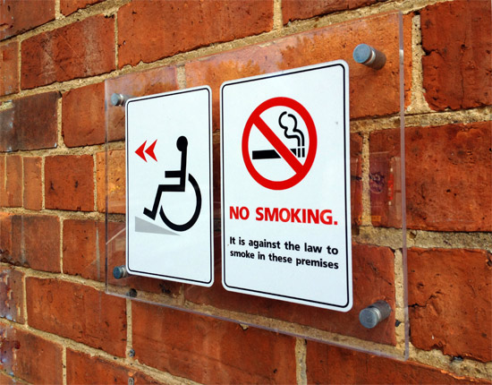 satin aluminium wall mounts no smoking sign