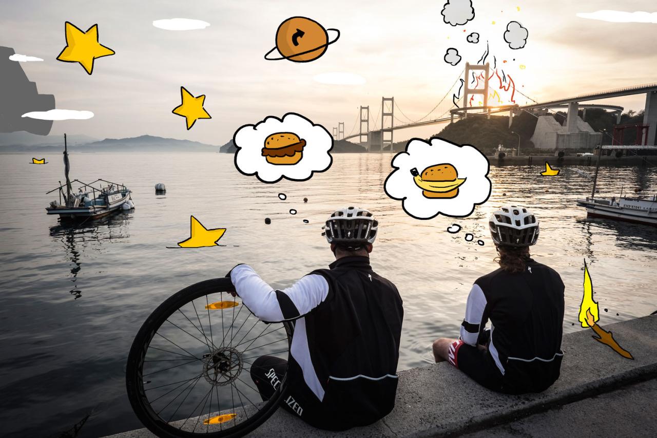 Io e Nik che guardiamo le stelle cadenti dopo aver appiccato fuoco a un ponte. Abbiamo fatto un  nuovo post  sul blog di unCOMMON:Wheels! Continua il nostro giro del Giappone in bici!