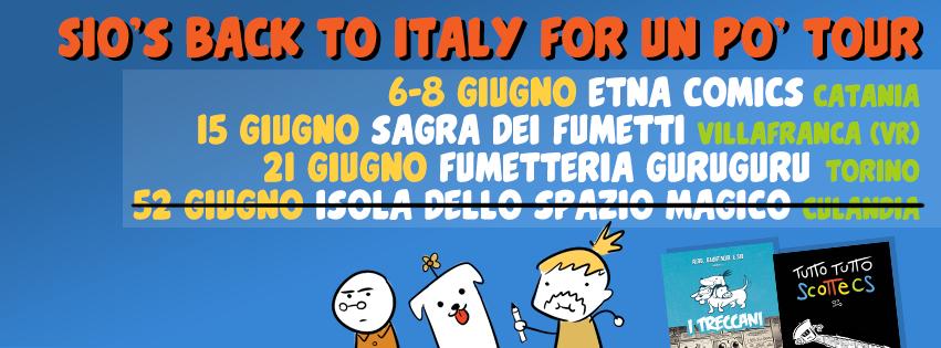 Sono in Italia a giugno! Posso farvi un disegnino su Tutto Tutto Scottecs o uno dei miei fumetti! O se volete su un fumetto di qualcun altro! Però poi promettetemi che non chiamate la polizia.   Incontri!     6-8 giugno:  Etna Comics  (Catania)    15 giugno:  Sagra dei Fumetti  (Villafranca di Verona)    21 giugno:  Fumetteria Guruguru  (Torino)    Se avete domande varie scrivetemi su twitter a @scottecs!   Ciao!