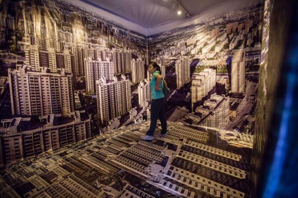Viewers immersed themselves in  Dashilar Polarized during Beijing Design Week. Photo: Matthew Niederhauser