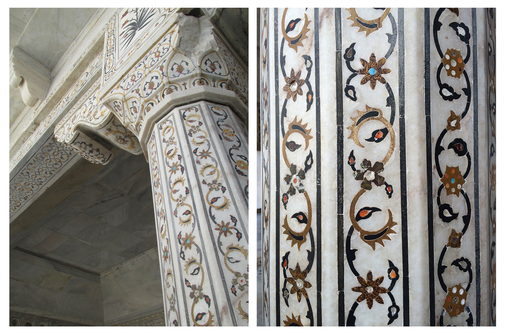 Marble inlay details at Agra Fort