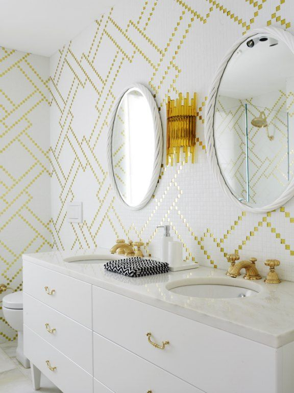 White & Gold Mosaic Tiles to add a touch of glam to your bathroom
