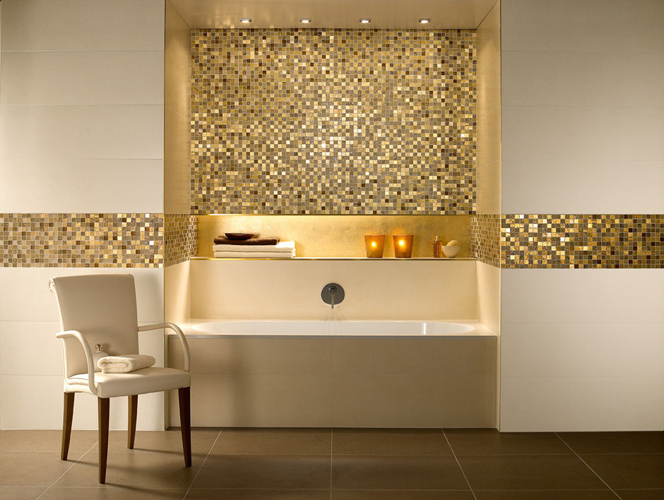 Gold Mosaic Tiles at a Spa turns what is otherwise a boring lit space into a piece of art, just from its reflection