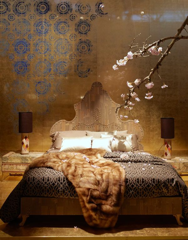 Copper Gold with blue pattern tiles in a bedroom