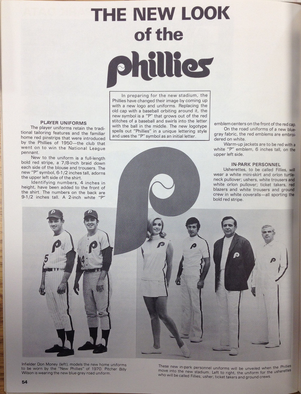 "Debut of the Phillies ""swirling-p"" uniforms in the 1970's"
