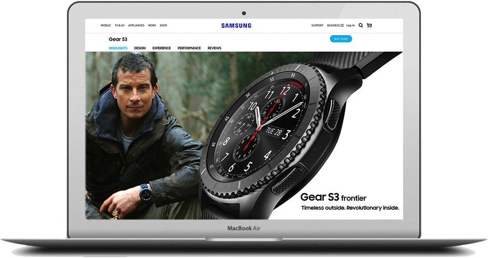 - And for those who were ready for adventure,there was the Gear S3 frontier page. This creative was bought to life by adventurer Bear Grylls. Click the image to see the full page.