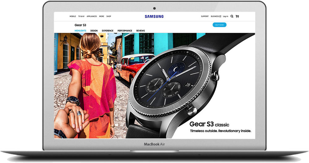 - For those that wanted a little extra luxury in their life, there was the Gear S3 classic page. We used the classy jet setter Murad Osmann to bring the page to life.Click the image to see the full page.