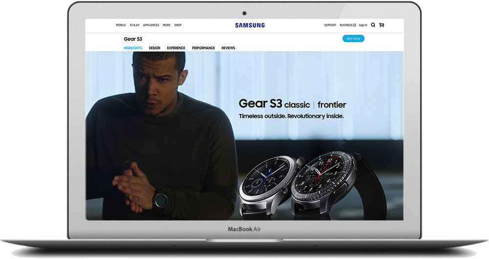 - The journey began with British actor, singer, songwriter Jacob Anderson (Raleigh Ritchie). Based on which Gear S3 model the user liked most, they were then sent to one of two pages. Click the image to see the full page.