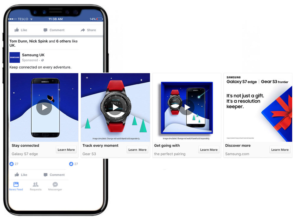 - To make sure all messaging was cohesive, I was tasked with concepting paid social creative. I even got my hands dirty art directing assets. A feeling of flow was important. We created Facebook carousels with characters that animated across multiple slides.