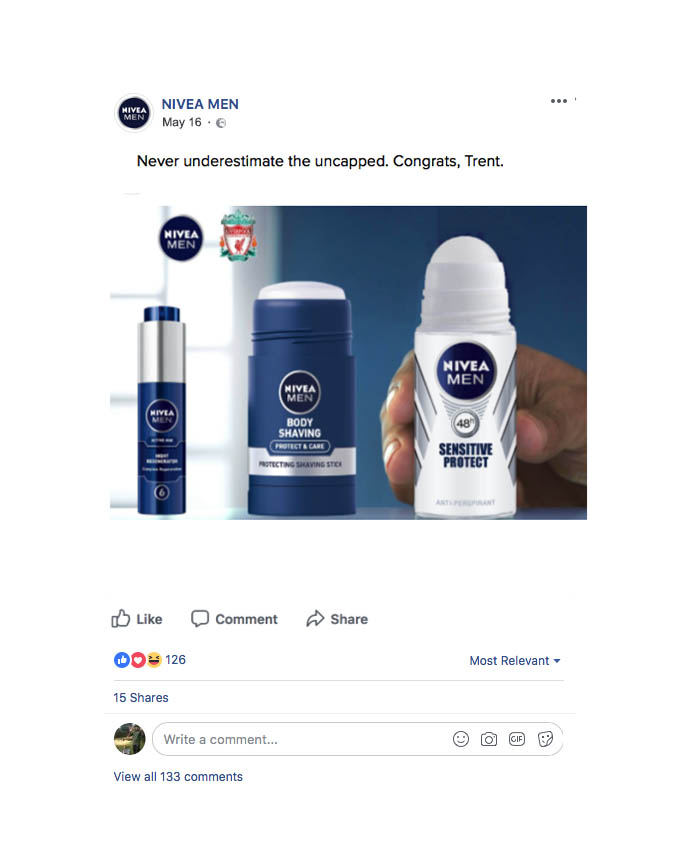 -  During much of 2018, I worked as a solo creative producing the concept, art and copy for NIVEA MEN's always-on content. I've created, smart, simple, forward-thinking concepts, to be executed in the UK and across Europe, with a heavy lean towards their Liverpool FC sponsorship. I've concepted posts for everything, from Trent Alexander Arnold being included in the England Squad...