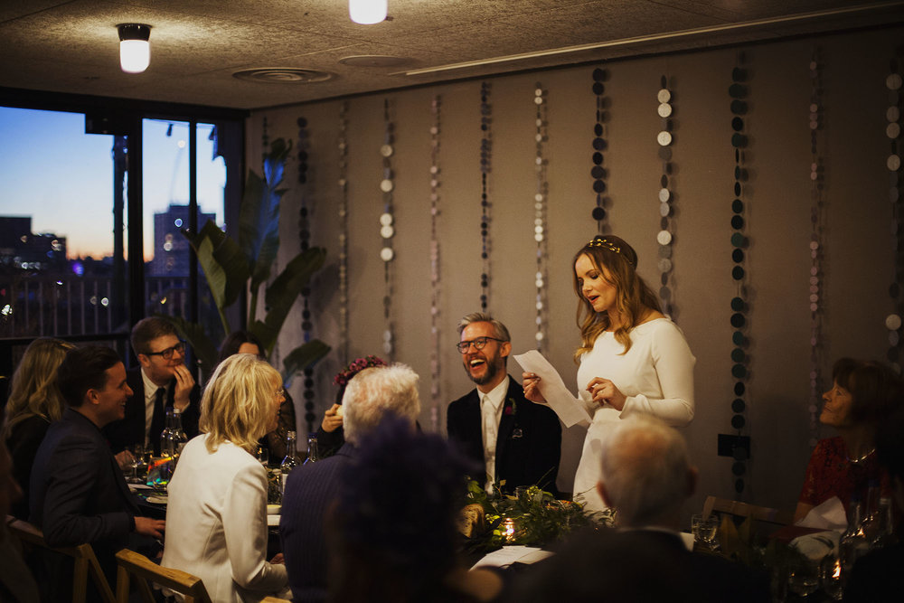 bride's speech at wedding at the ace hotel london