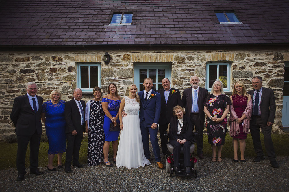 family group photograph at nantwen wedding venue