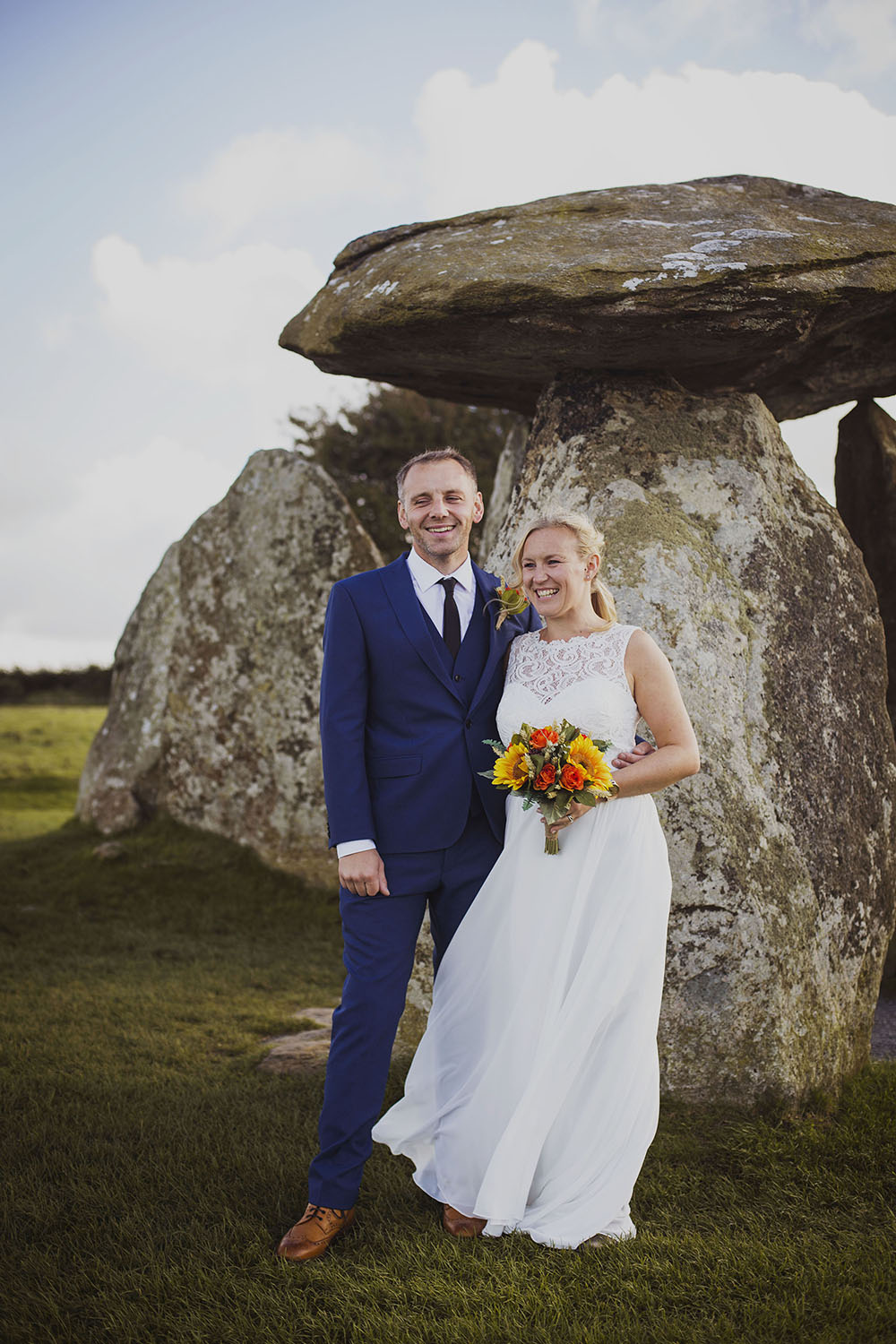 bride and groom smiling couple portrait in pembrokeshire