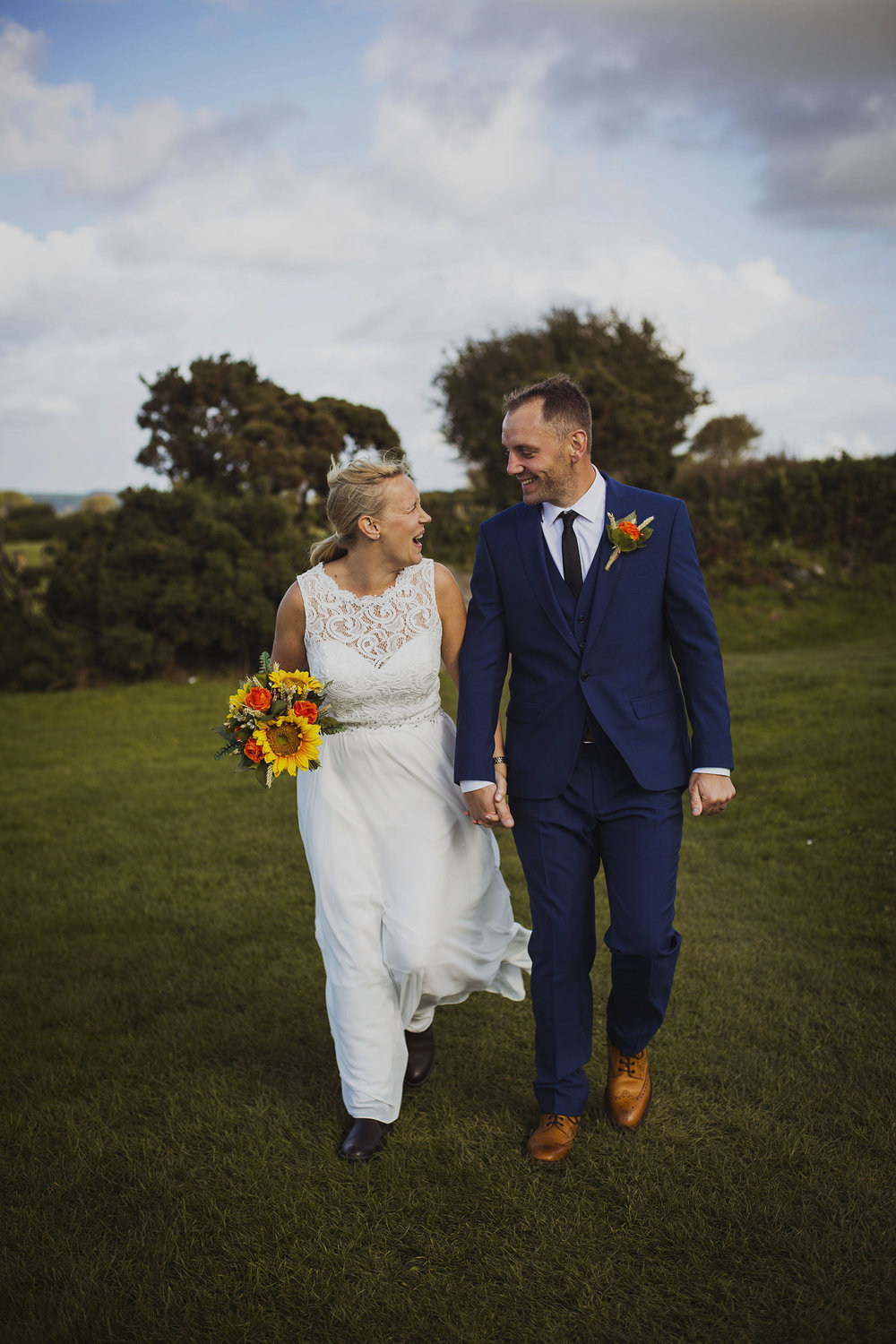 bride and groom couple portrait in pembrokeshire