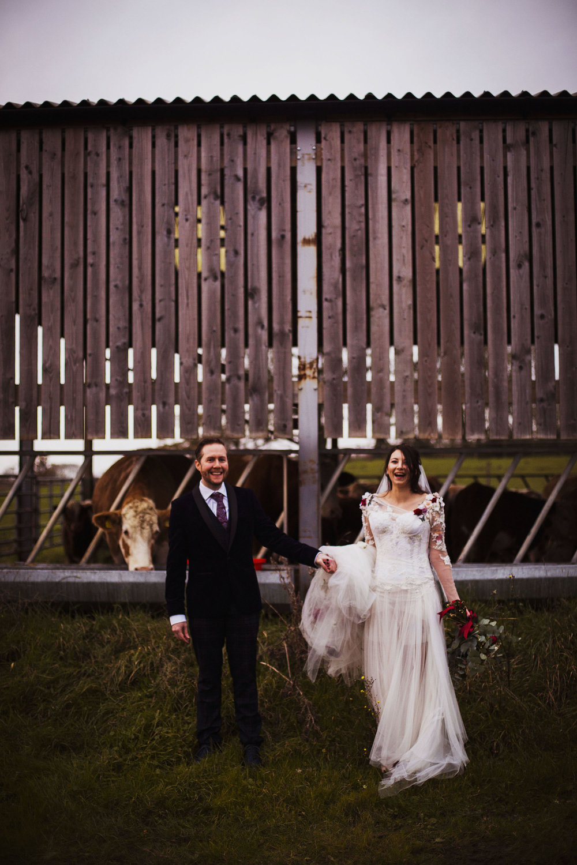 bride and groom portrait at barford park wedding venue in wiltshire