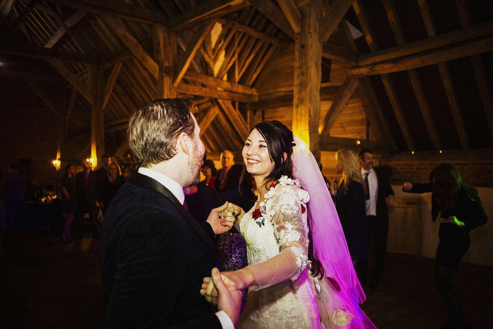bride and groom dancing at wedding reception at barford park wedding venue in wiltshire