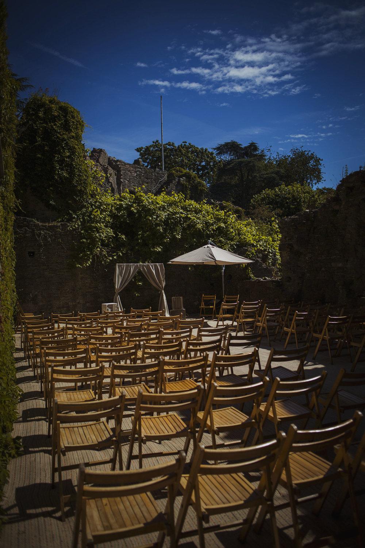 ceremony set up at usk castle
