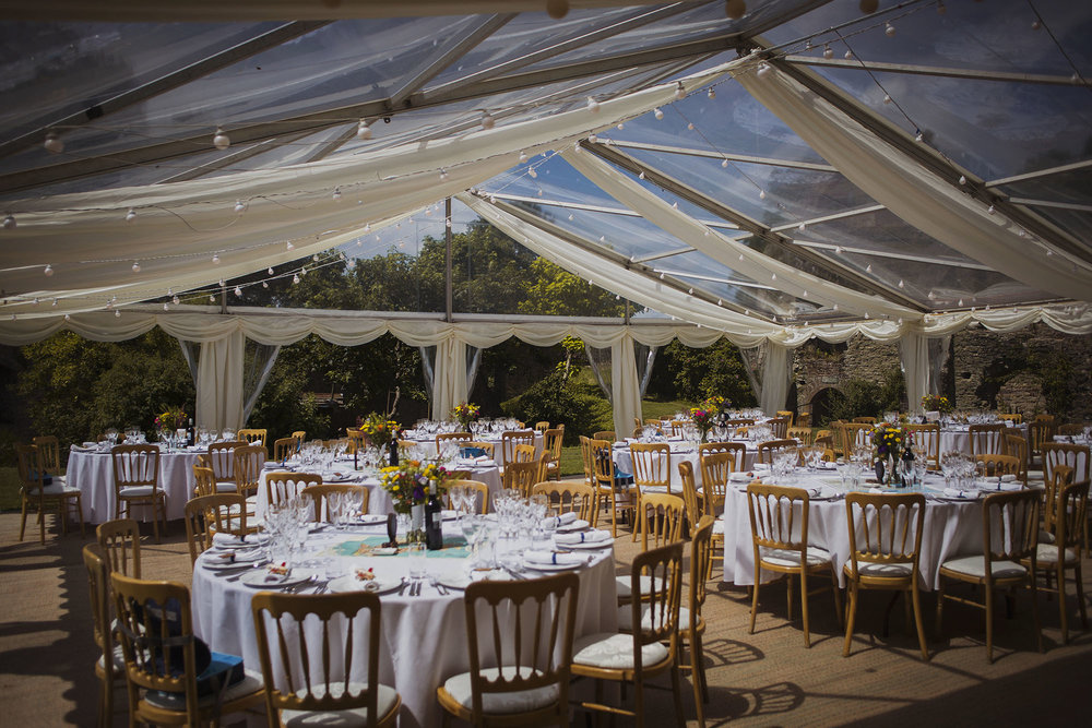 wedding breakfast set up in county marquee at usk castle