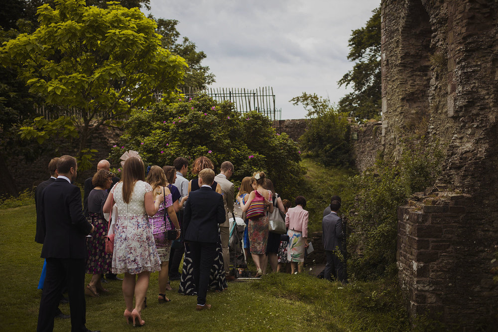 guests going into ceremony room at usk castle