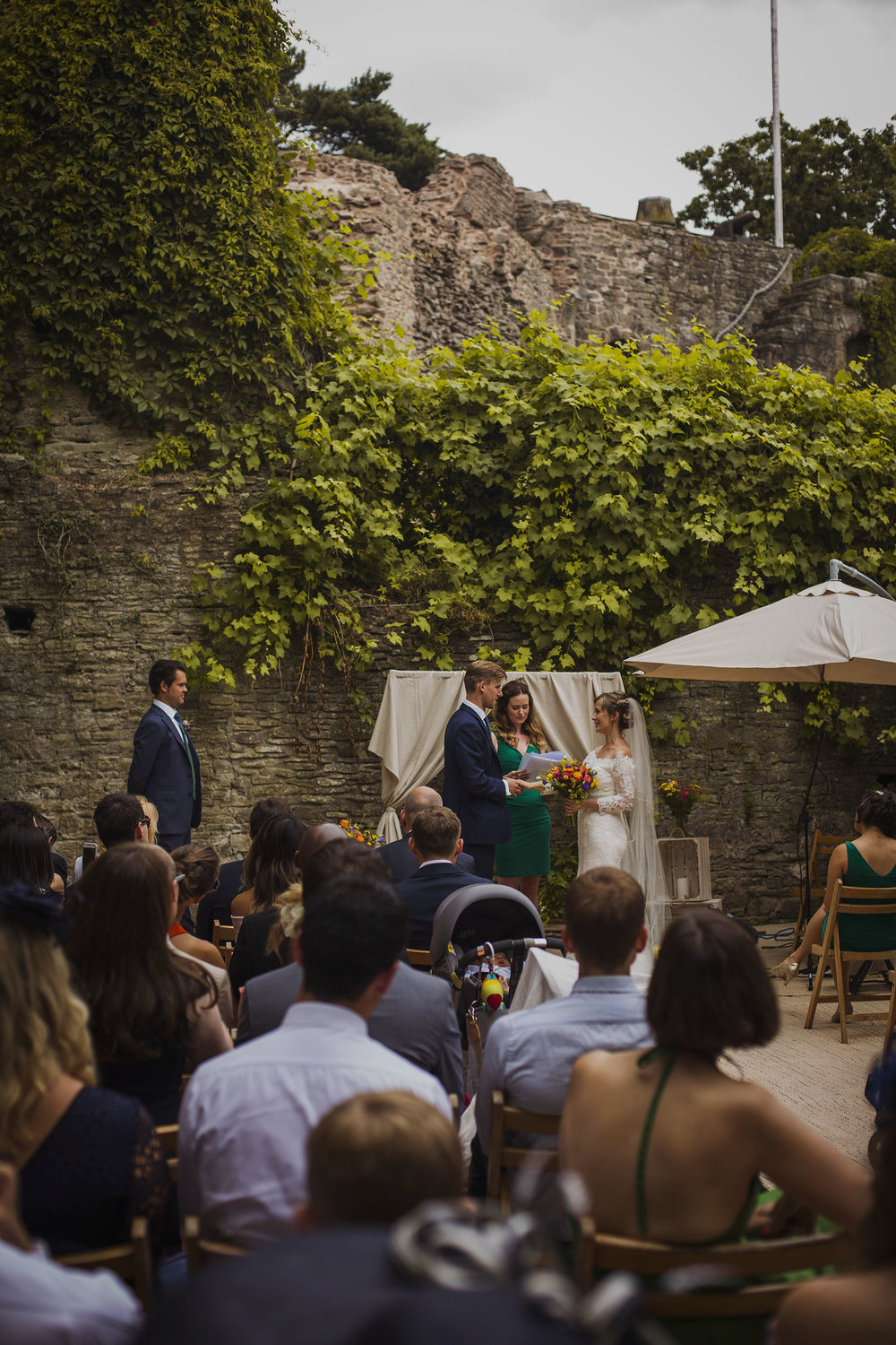 wedding ceremony at usk castle