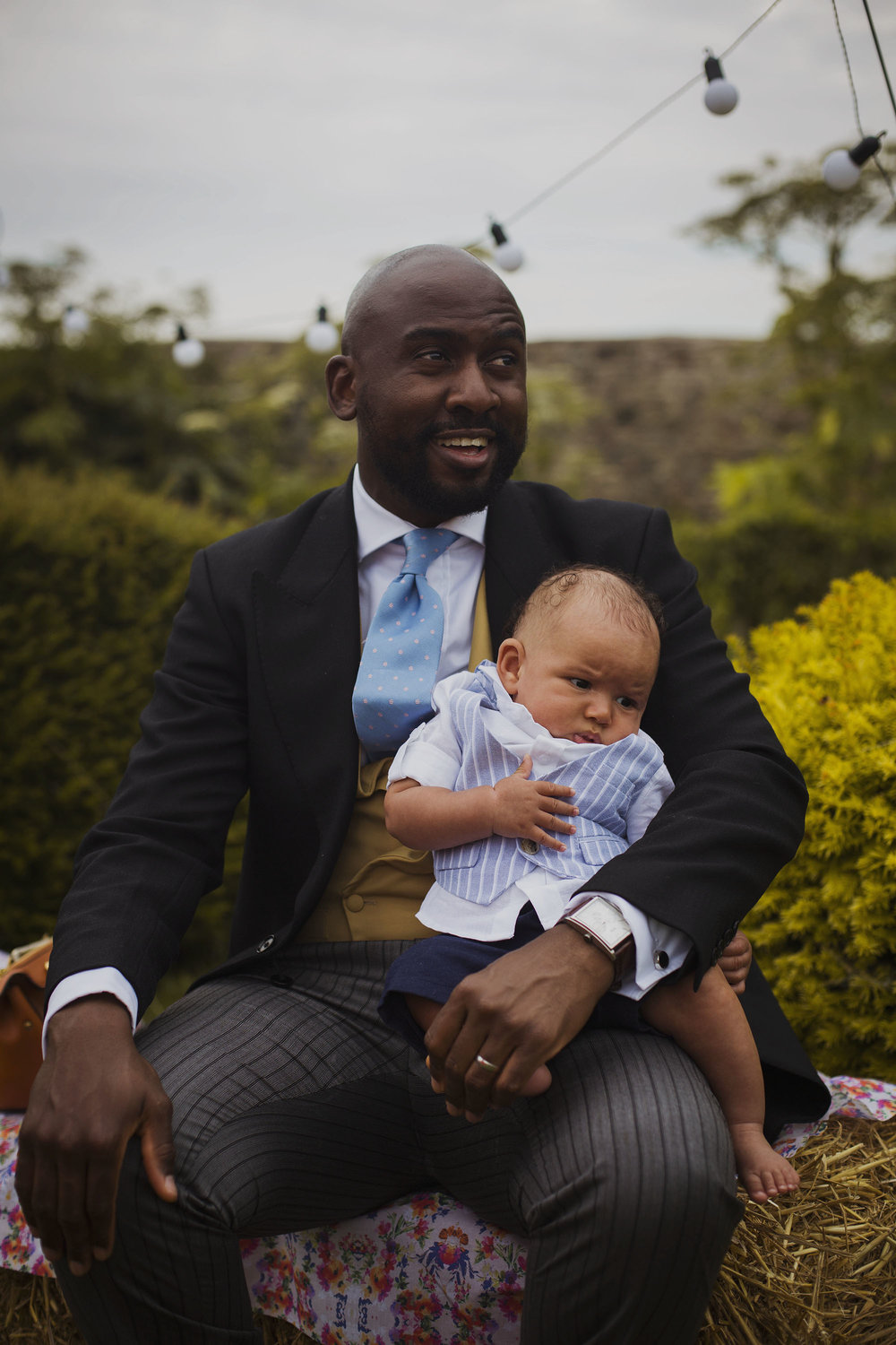 wedding guest with baby at usk castle
