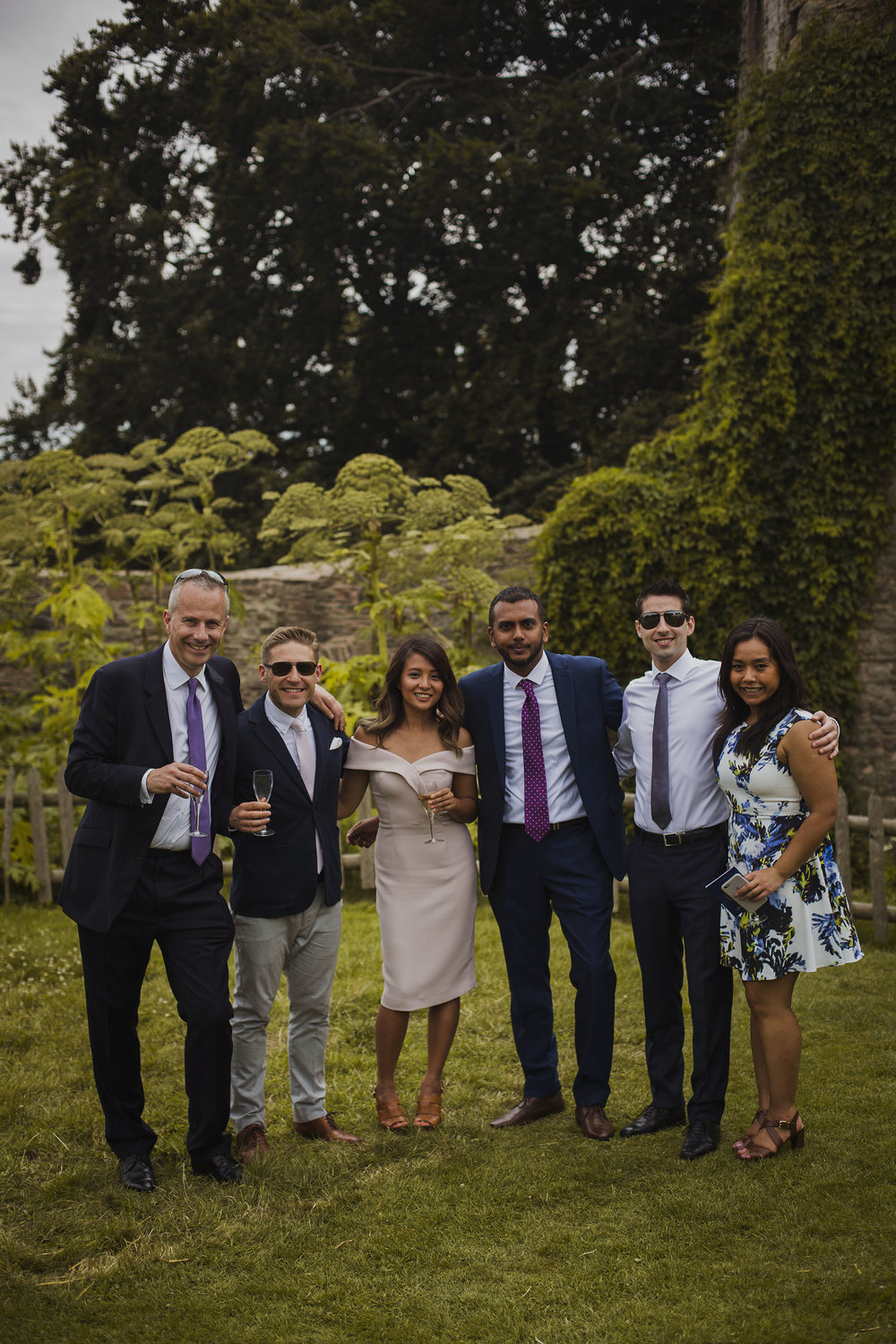 friends group photograph at wedding at usk castle