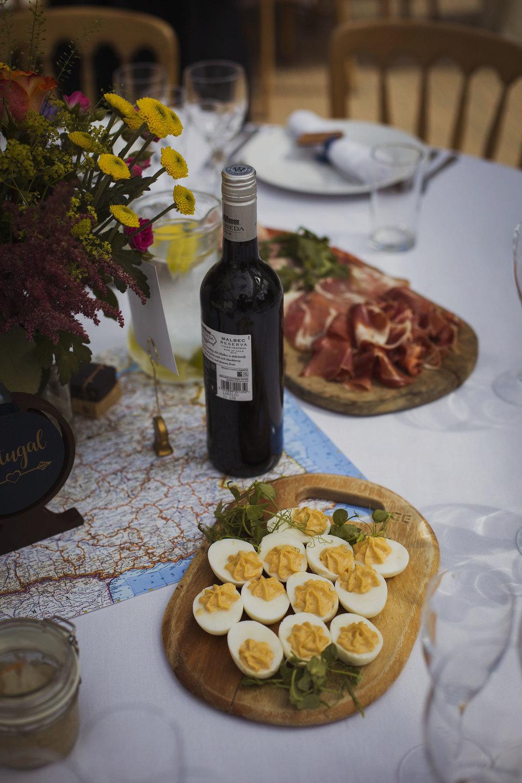 deviled eggs on wedding breakfast table at usk castle