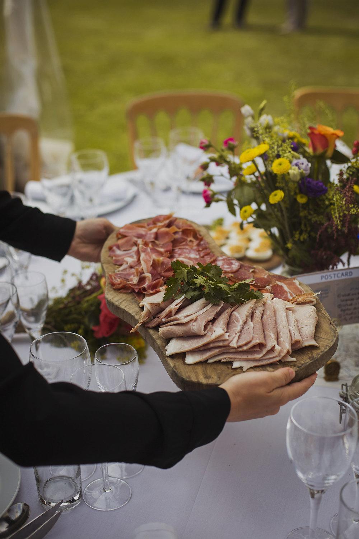 meat platter being served at usk castle