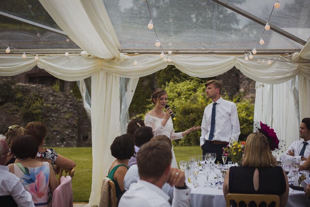bride giving speech at wedding breakfast at usk castle