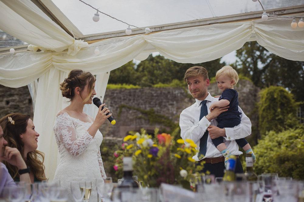 bride giving speech at usk castle