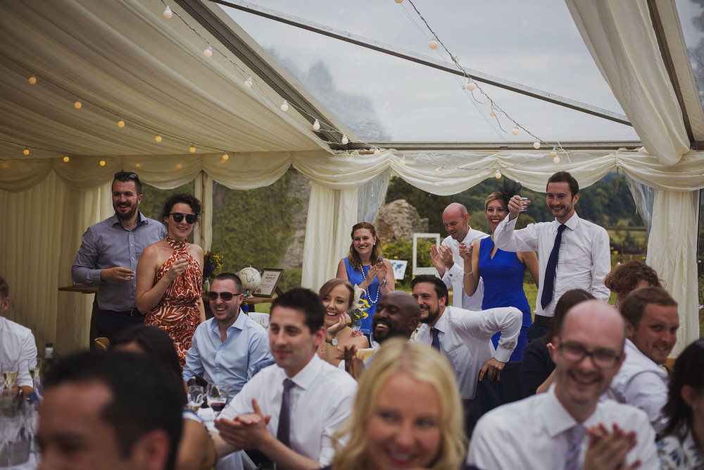 wedding guests applauding at usk castle