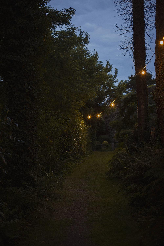festoon lights dusk at usk castle