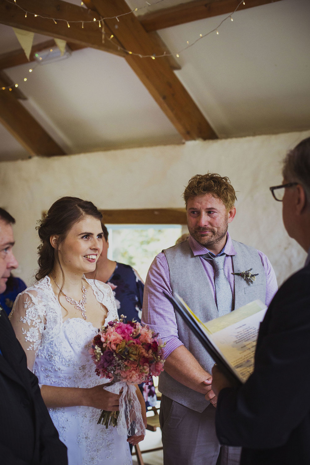 groom crying during ceremony at nantwen wedding venue