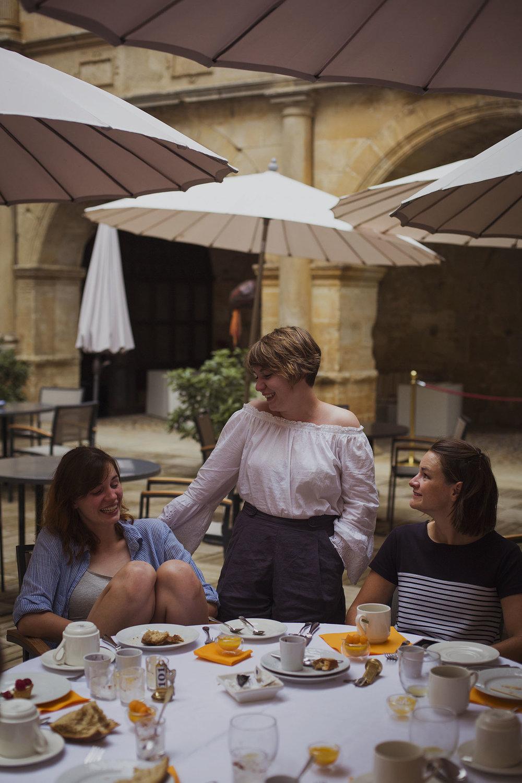 wedding guests at chateaux des ducs de joyeuses france destination wedding photography