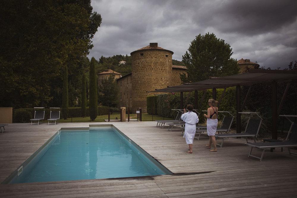 chateaux des ducs de joyeuses swimming pool france destination wedding photography