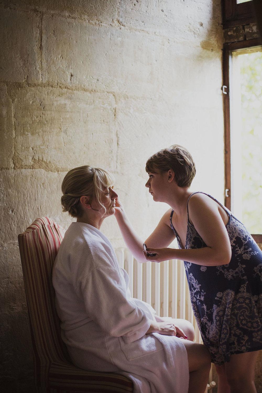 bridal preparations at chateaux des ducs de joyeuses france destination wedding photography