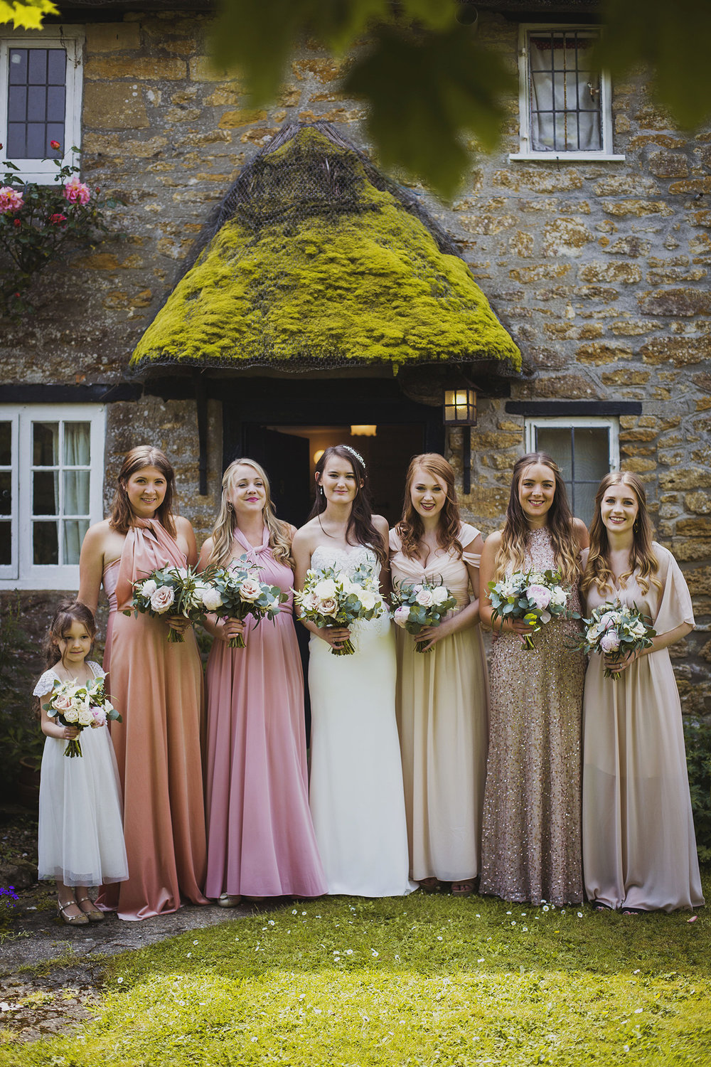 bride with bridesmaids ready for somerset wedding