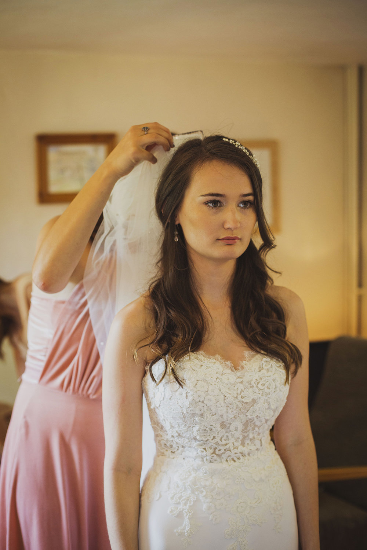bride's veil being put on somerset wedding